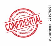 confidential rubber stamp... | Shutterstock .eps vector #216078034