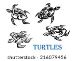 swimming turtles set in tribal...