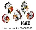 olorful cartoon native... | Shutterstock .eps vector #216082300