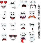 cartoon faces with emotions  | Shutterstock .eps vector #216086539