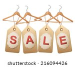 four wooden hangers with price... | Shutterstock .eps vector #216094426