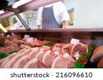 chops in butcher's shop ... | Shutterstock . vector #216096610