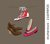 sneakers  shoes and ballet... | Shutterstock .eps vector #216098920