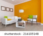 orange interior with white... | Shutterstock . vector #216105148