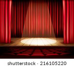 a theater stage with a red... | Shutterstock .eps vector #216105220
