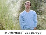 portrait of young man outdoors | Shutterstock . vector #216107998