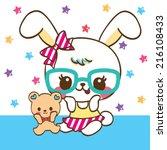 Stock vector cute rabbit cartoon and teddy bear on star background 216108433