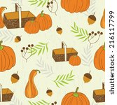 seamless pattern with autumn... | Shutterstock .eps vector #216117799