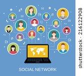 social media network concept... | Shutterstock .eps vector #216122908