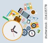 infographics  work schedule at... | Shutterstock .eps vector #216135778