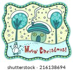 Greeting card with winter landscape. House and trees in the snow, snowman in the foreground and the text Merry Christmas. - stock vector