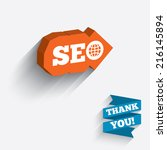 seo sign icon. search engine... | Shutterstock . vector #216145894