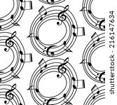 vector musical pattern with... | Shutterstock .eps vector #216147634