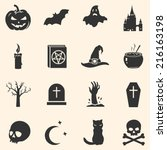 vector set of black halloween... | Shutterstock .eps vector #216163198