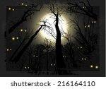 spooky grunge forest... | Shutterstock .eps vector #216164110