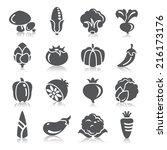 vegetables icons | Shutterstock .eps vector #216173176