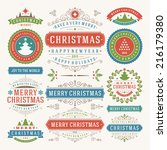 christmas decoration vector... | Shutterstock .eps vector #216179380
