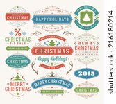 christmas decoration vector... | Shutterstock .eps vector #216180214