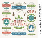 christmas decoration vector... | Shutterstock .eps vector #216180223