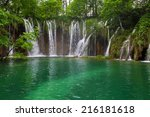 waterfall in the plitvice lakes ... | Shutterstock . vector #216181618