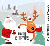 christmas background with santa ... | Shutterstock .eps vector #216191200