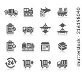 logistics and transport icons | Shutterstock .eps vector #216198040