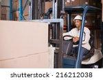 forklift driver operating...   Shutterstock . vector #216212038