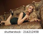 happy girl in interior room | Shutterstock . vector #216212458