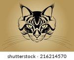 stylized cat face. vector... | Shutterstock .eps vector #216214570