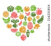 fruit and vegetable icons in...