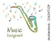 illustration of saxophone music ...   Shutterstock .eps vector #216247129