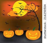 background of  halloween jack o ... | Shutterstock .eps vector #216250504