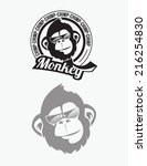 monkey  chimp illustration | Shutterstock .eps vector #216254830