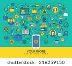 flat line icons set. creative... | Shutterstock .eps vector #216259150