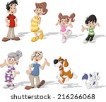colorful cute happy cartoon... | Shutterstock .eps vector #216266068