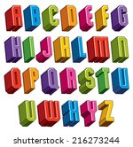 3d font  vector bold and heavy... | Shutterstock .eps vector #216273244