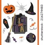 happy halloween vector set | Shutterstock .eps vector #216274483
