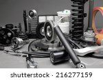 new car parts on a gray... | Shutterstock . vector #216277159