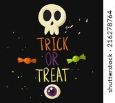 trick or treat postcard with... | Shutterstock .eps vector #216278764