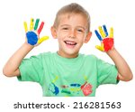 portrait of a cute cheerful boy ... | Shutterstock . vector #216281563
