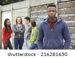 gang of teenagers hanging out... | Shutterstock . vector #216281650