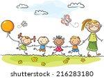 kindergarten | Shutterstock .eps vector #216283180