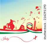 italian holidays background... | Shutterstock .eps vector #216291190