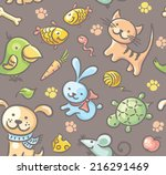 Seamless Pattern With Pets And...