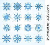 vector set of snowflakes... | Shutterstock .eps vector #216296446