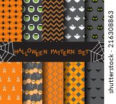 10 different halloween vector... | Shutterstock .eps vector #216308863