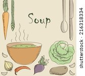 vegetarian soup and vegetables. ... | Shutterstock .eps vector #216318334