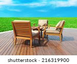 Wooden Table And Chairs Outside