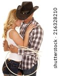 a cowboy and his girl tied up... | Shutterstock . vector #216328210