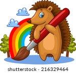 cartoon hedgehog character with ... | Shutterstock .eps vector #216329464